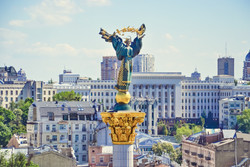 View of the Independence Monument in Kiev