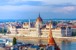 Landscape view of Parliament in Budapest