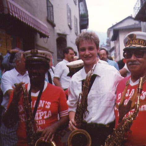 Sarah with Dejan's Olympia Brass Band of New Orleans