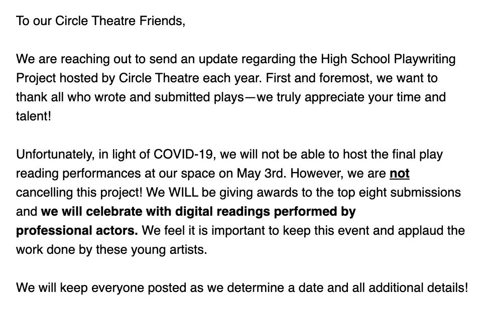 HSPP 2020 - Circle Theatre update