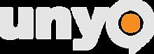 UNYO logo silver-orange-dark background.