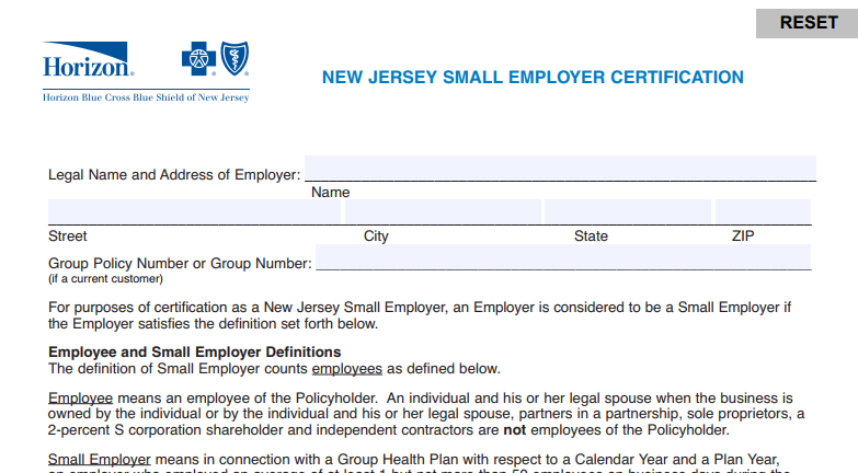 STAY COMPLIANT- NJ SMALL EMPLOYER CERTIFICATION FOR HEALTH INSURANCE