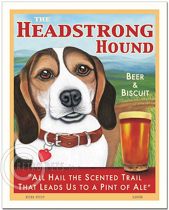Beagle Headstrong Hound Art Print
