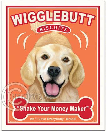 Wigglebutt Golden Retriever Art Print