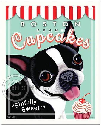 Boston Terrier Cupcakes Art Print
