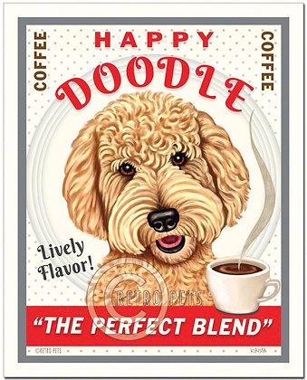 Happy Goldendoodle Art Print