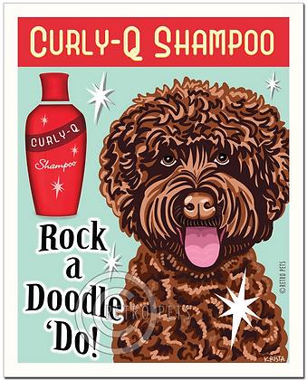 Curly-Q Labradoodle Art Print