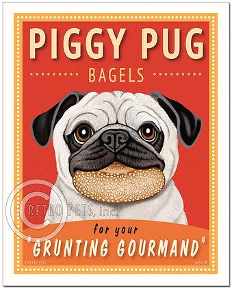Piggy Pug Bagels Art Print