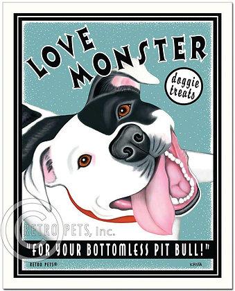 Love Monster Pitbull Art Print