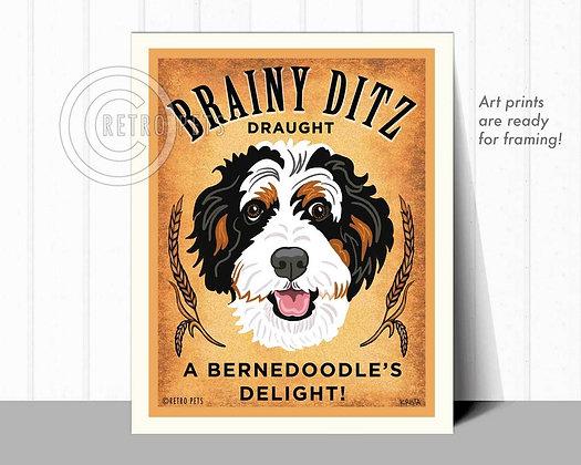 Bernedoodle Draught Art Print