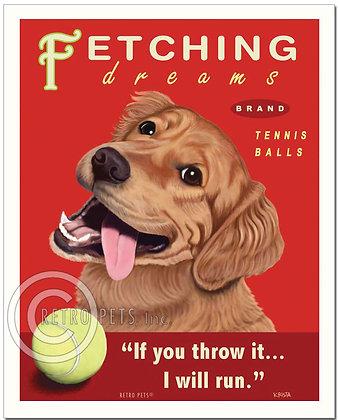 Golden Retriever Fetching Art Print
