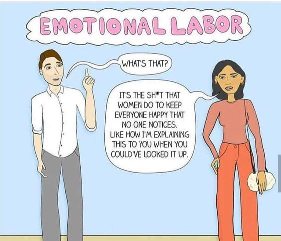 "Illustration of a woman defining the term ""emotional labor"" to a man"
