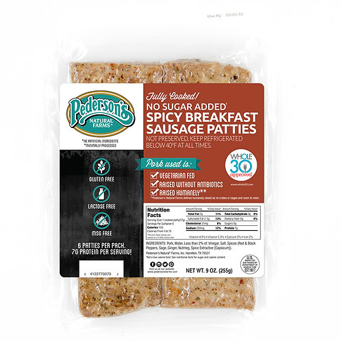 Pedersons Spicy Breakfast Sausage Patties No Sugar Added