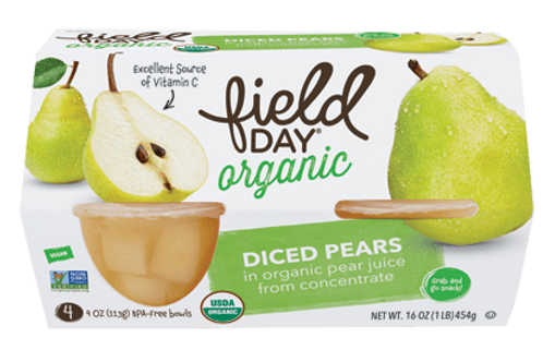 Field Day Organic Diced Pears - 4 pack