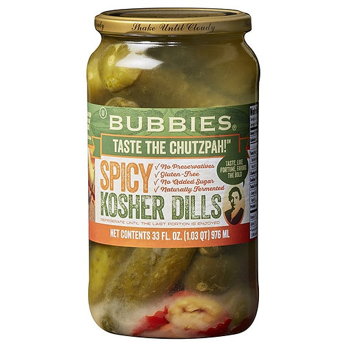 Bubbies Large Spicy Kosher Dill Pickles