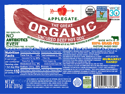 Applegate Organics Grass Fed Uncured Beef Hotdogs