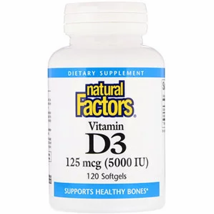 Natural Factors Vitamin D3 5000 IU - 3 Size Options
