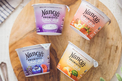 Nancys Organic Whole Milk Yogurt Cups with Probiotics - 4 Flavor Options