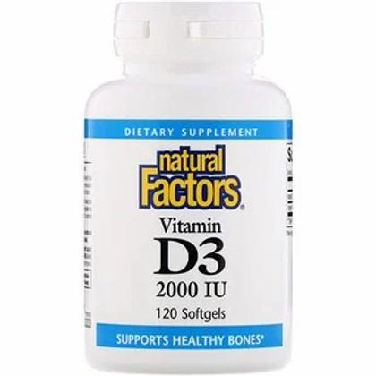 Natural Factors Vitamin D3 2000 IU - 2 Size Options