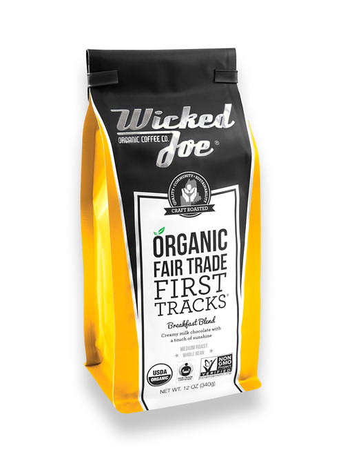 Wicked Joes Organic First Tracks Breakfast Blend Whole Bean Coffee