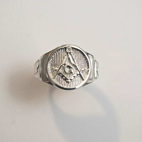 33Travellers .925 Sterling Silver Masonic Ring