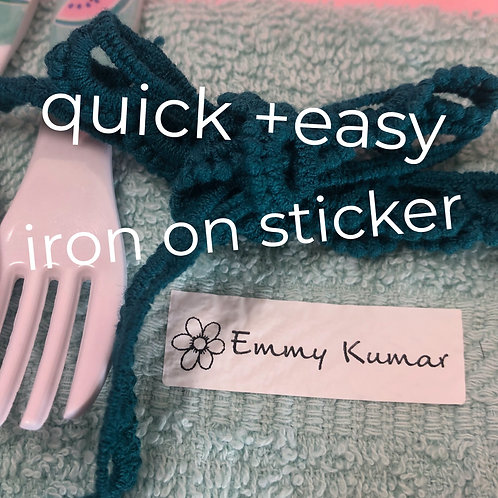 WATERPROOF NAME LABEL Iron on stickers
