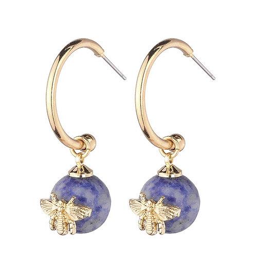 BEE HOOP EARRINGS BLUE