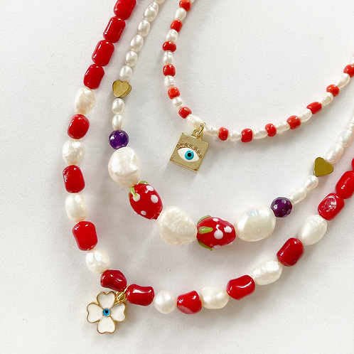 Red square eye necklace