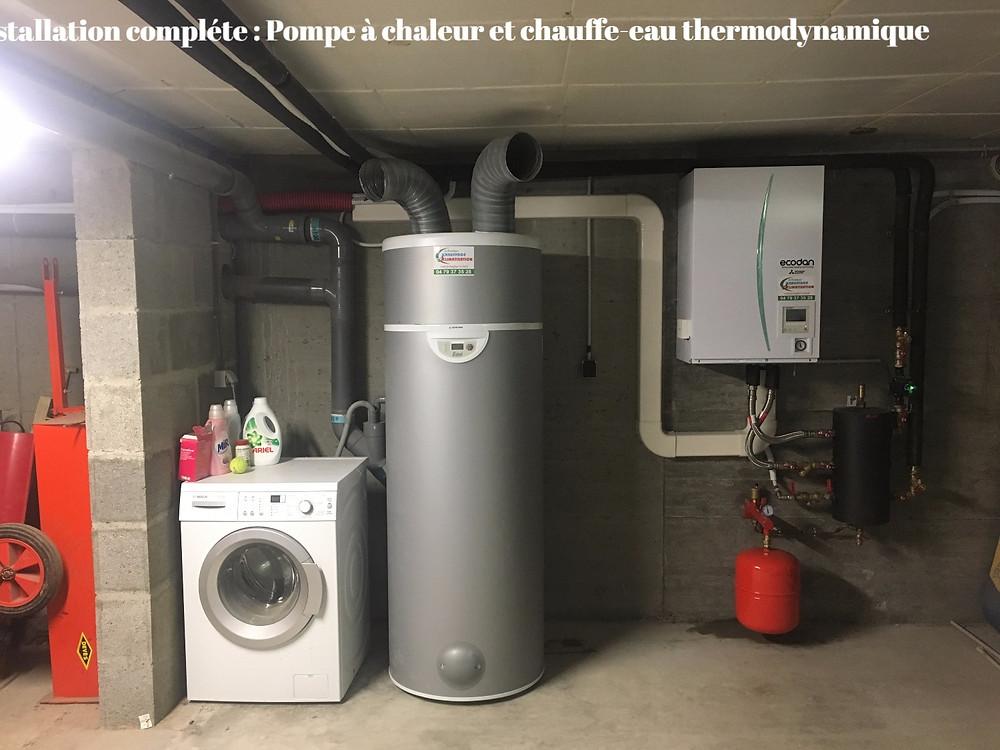 Exemple d'une installation type d'une pompe à chaleur Air/Eau associée à un chauffe-eau thermodynamique.