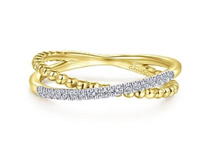 14k Gold Beaded Diamond Ring