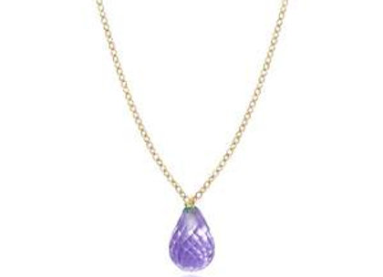 14k Gold Briollete Amethyst Necklace