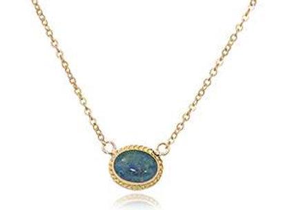 14k Gold Black Opal Necklace