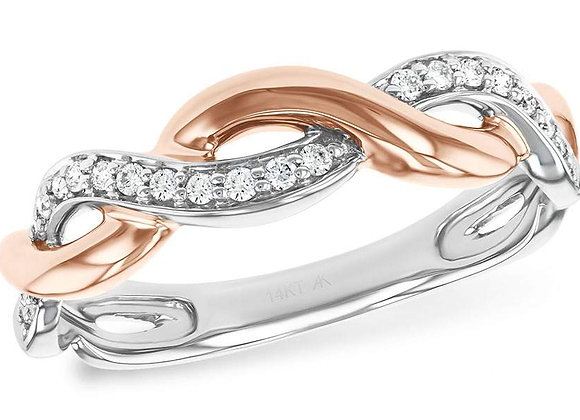14k R & W Gold Diamond Crossover Band