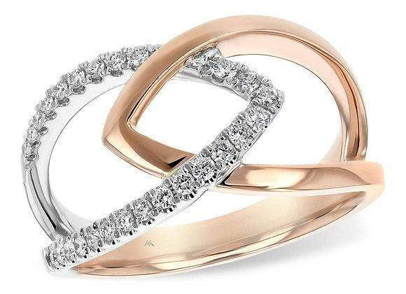 14k R & W Gold Diamond Ring
