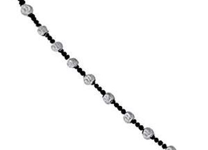 Sterling Silver & Black Rhodium 48 inch Moon Bean Necklace
