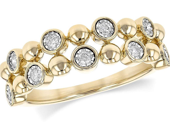 14k Gold Diamond Bubble Ring
