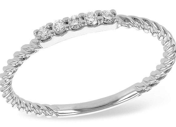 14k Gold Diamond Bar Ring