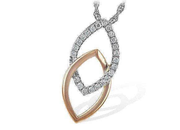 14k R & W Gold Diamond Necklace