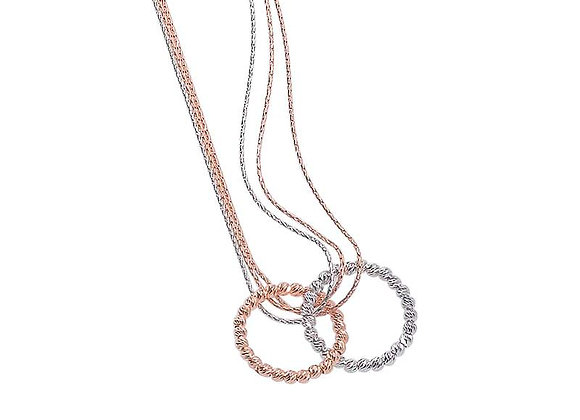 Sterling Silver & Rose Gold Double Ring Pendant