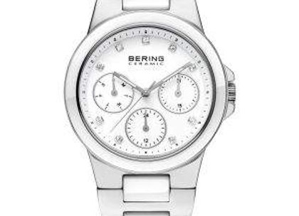 Ladies White Ceramic Stainless Steel Chronograph