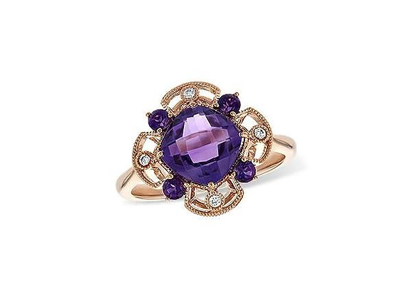 14k Rose Gold Amethyst & Diamond Ring