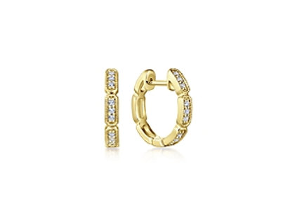 14k Gold Diamond Segmented Huggies