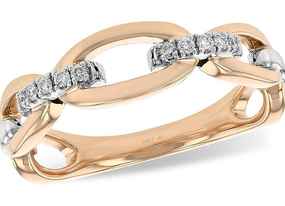 14k Rose Gold Diamond Chain Ring