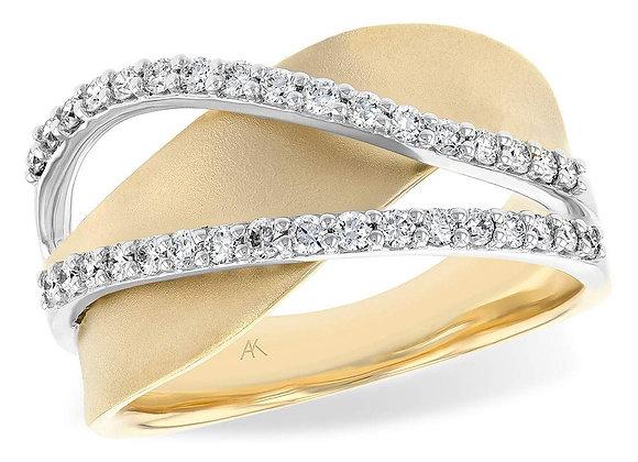 14k Gold Diamond Crossover Ring