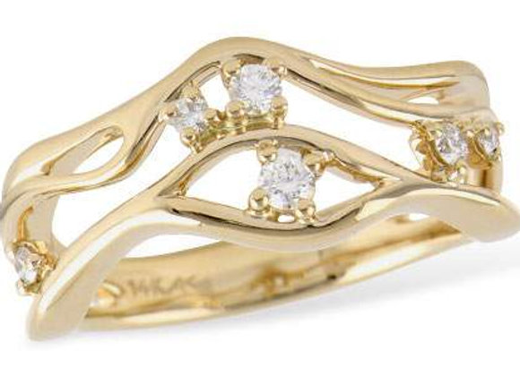 14k Gold Free Form Diamond Ring