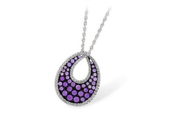 14k Gold Amethyst & Diamond Necklace