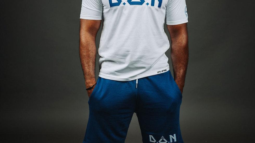 """White/Royal Blue """"D.O.N Acronym"""" T-Shirt/Short Set"""