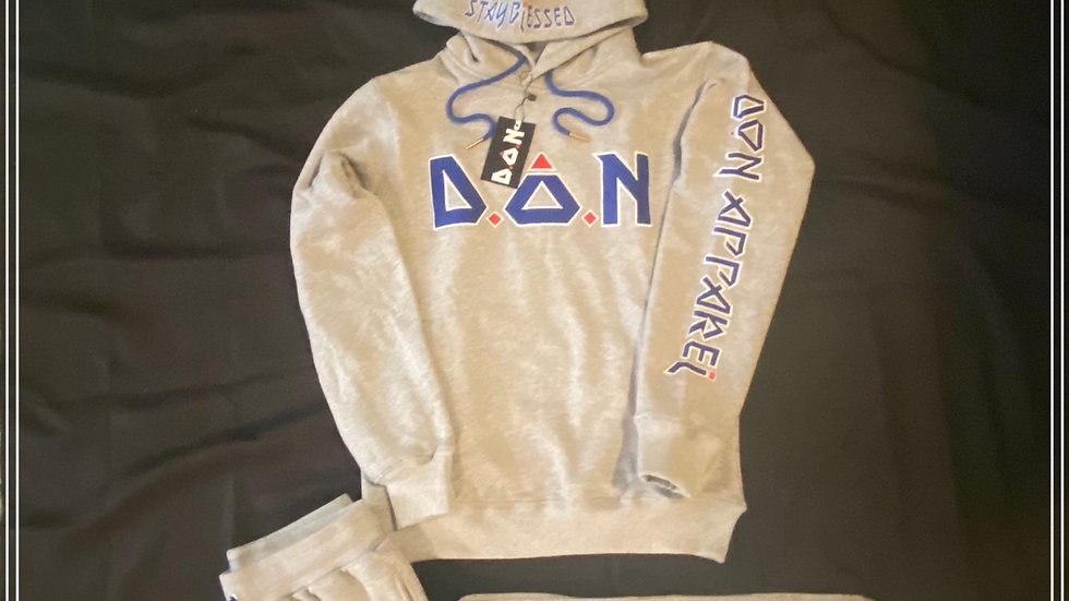 """Heather Grey Double Or Nothing™️ Appliqué Embroidered """"Acronym"""" Sweatsuit"""