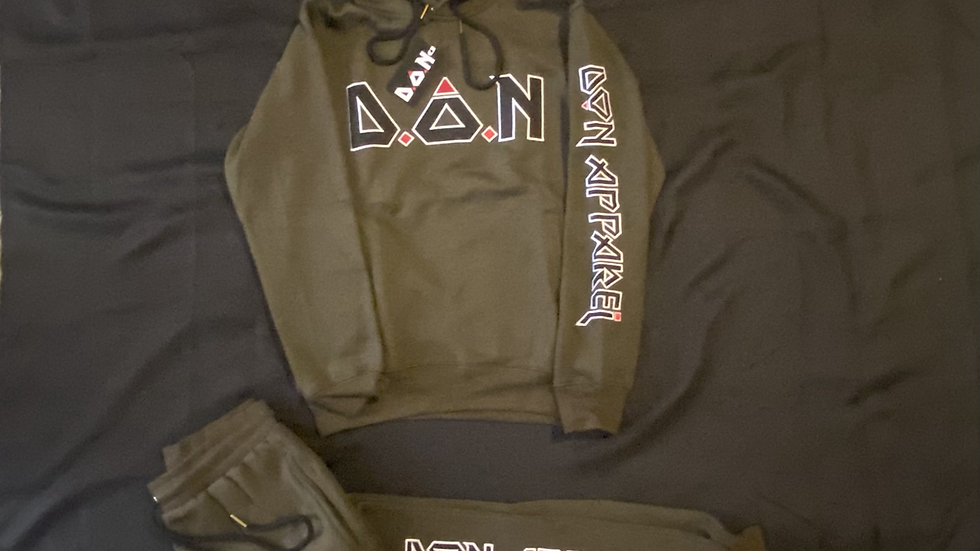 """Army Green Appliqué Embroidered Double Or Nothing™️ """"Acronym"""" Sweatsuit"""
