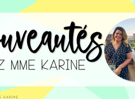 Nouveautés chez Mme Karine - Rentrée 2020